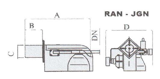 ابعاد حدودی مشعل گازی ایران رادیاتور مدل RAN