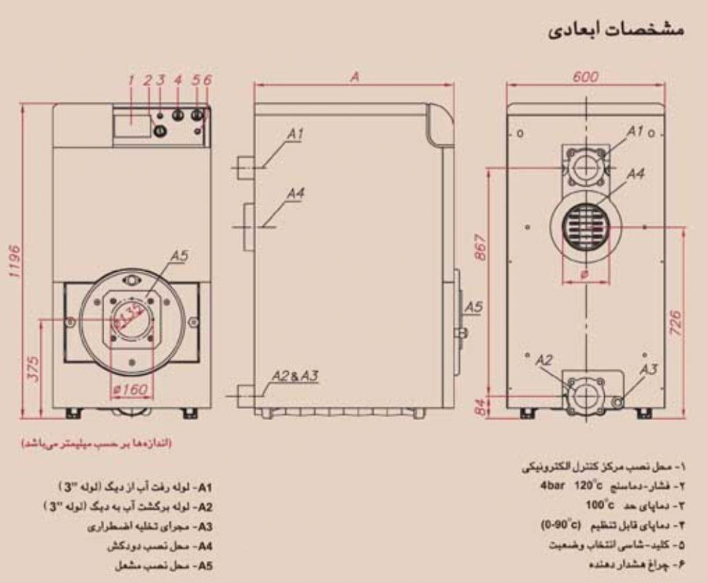 مشخصات ابعادی دیگ MI3 مدل M