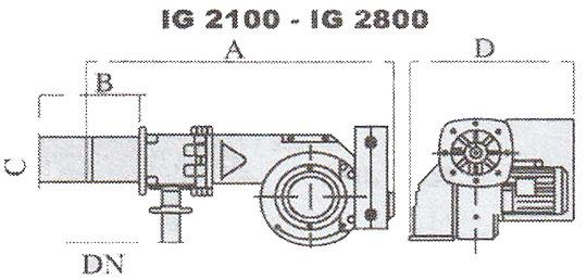 ابعاد حدودی مشعل گازی ایران رادیاتور مدل IG