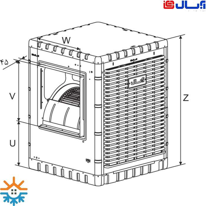 کولر آبی آبسال نانو سلولزی مدل AC/DC80 Nano
