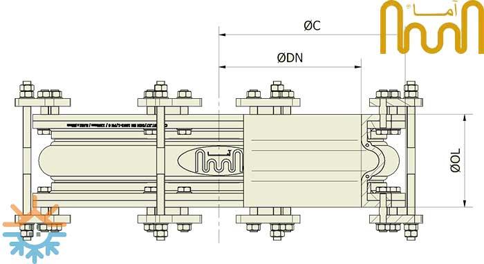 نقشه ابعادی لرزه گیر لاستیکی T20