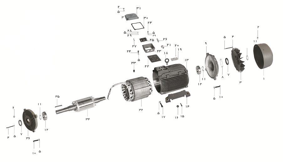 شماتیک انفجاری یک الکترو موتور سه فاز پوسته چدنی ساخت شرکت موتوژن