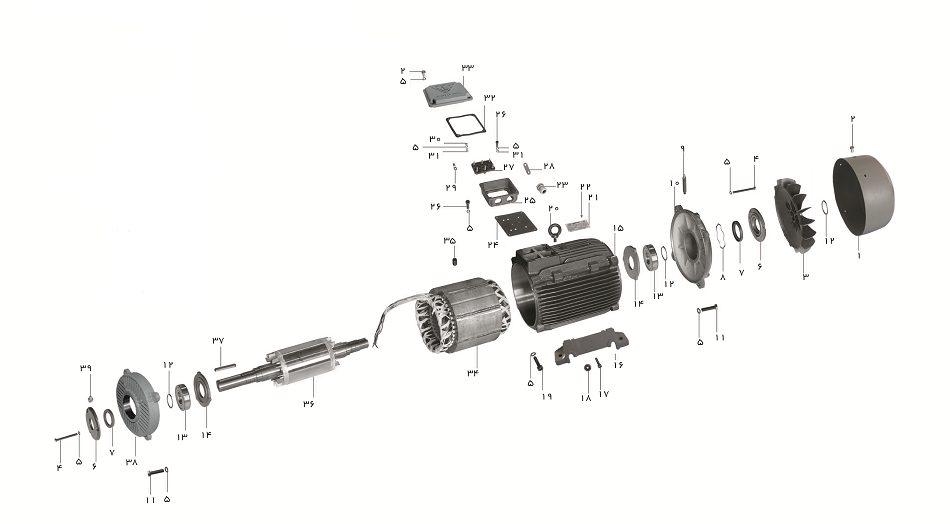 شماتیک گسترده الکتروموتور سه فاز بدنه چدنی موتوژن
